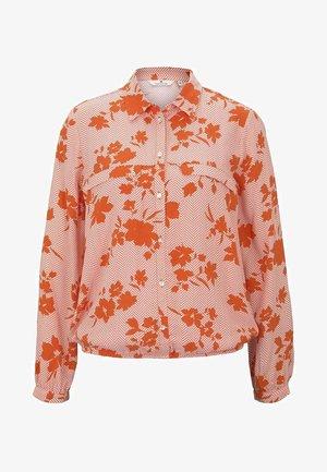 Button-down blouse - orange/coral