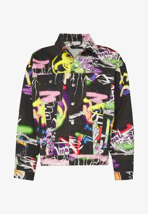 BLACK AIRBRUSH GRAFFITI JACKET - Denim jacket - black