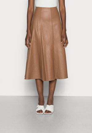 LAUREL - Leather skirt - hazelnut