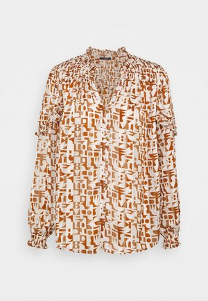 SHEER SHIRT WITH ALL OVER PRINT - Button-down blouse - beige