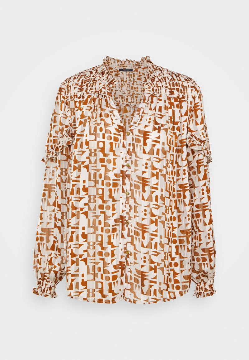 Scotch & Soda - SHEER SHIRT WITH ALL OVER PRINT - Button-down blouse - beige