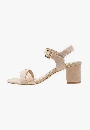 LEATHER HEELED SANDALS - Sandals - beige