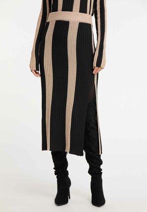 ROCK - Maxi skirt - mottled black