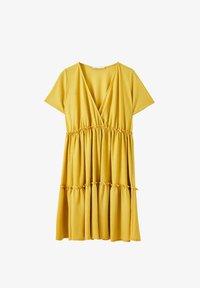 PULL&BEAR - WICKELOPTIK MIT RAFFUNGEN - Sukienka letnia - yellow - 4
