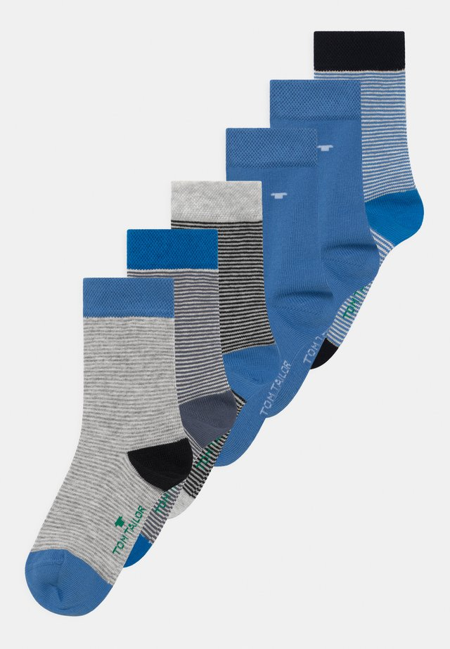 THIN STRIPES BASIC 6 PACK - Socks - beige melange/sea blue
