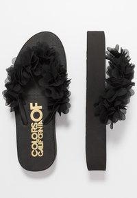 Colors of California - FLOWER TRIM - T-bar sandals - black - 3