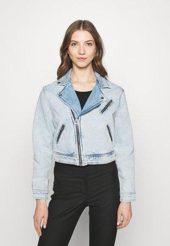 ONLSTEFFIE BIKER JACKET - Denim jacket - light medium blue