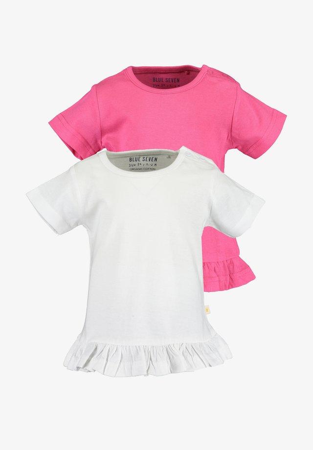 BASICS - T-shirt print - weiss pink