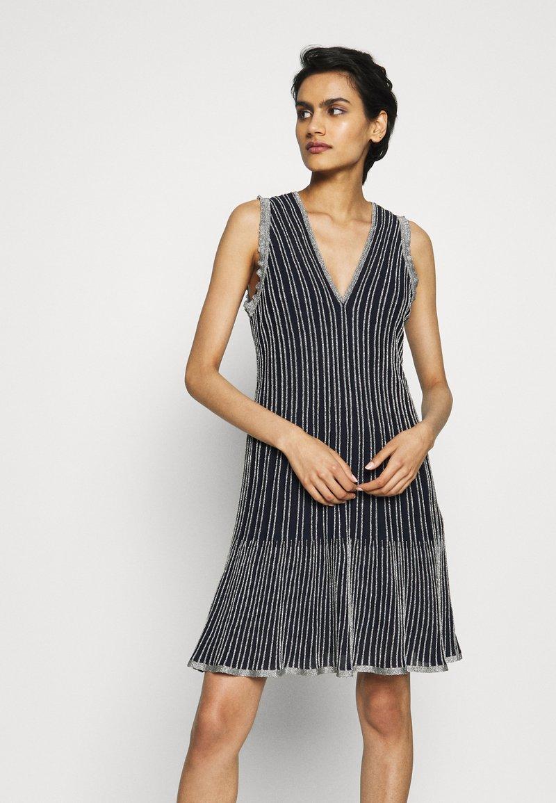 M Missoni - DRESS - Strikket kjole - blue silver