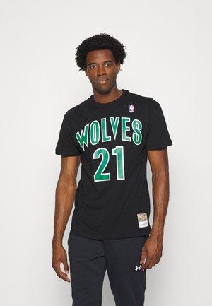 NBA MINNESOTA TIMBERWOLVES KEVIN GARNETT NAME AND NUMBER TEE - Club wear - black