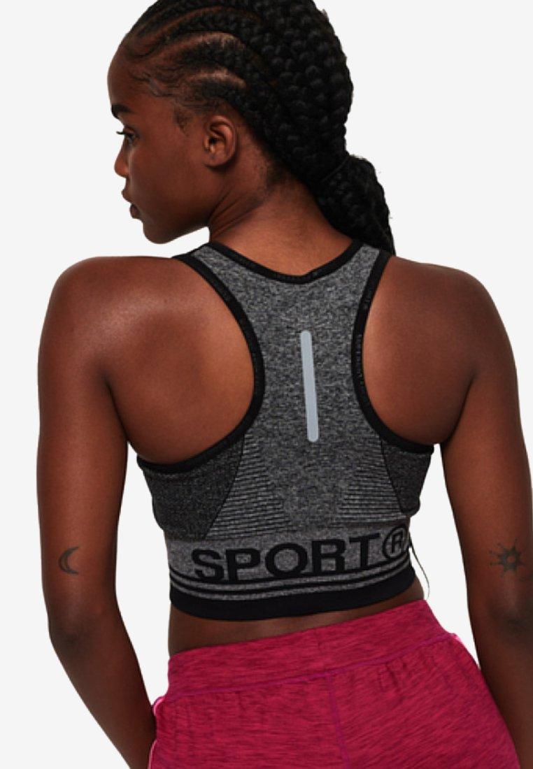 Superdry - MIT EINSATZ - T-shirt bra - mottled black