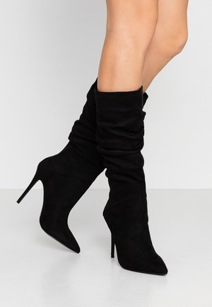 OLA RUCHED STILETTO KNEE HIGH - High heeled boots - black