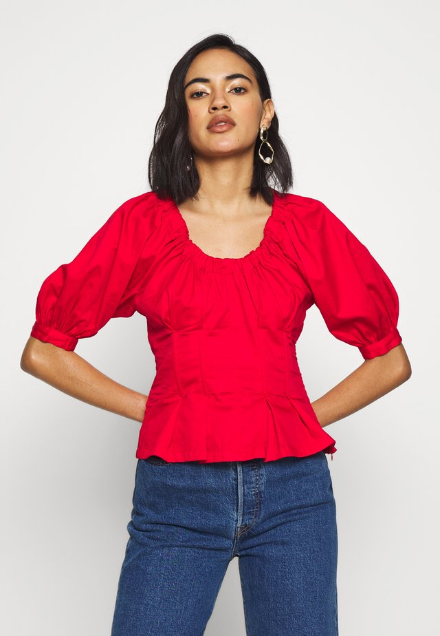 THE WAIST DETAIL BLOUSE - Pusero - carmine red