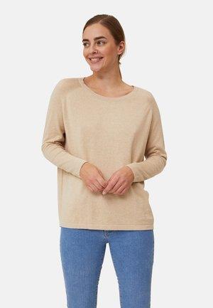 Stickad tröja - light beige melange