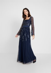 Maya Deluxe - SQUARE NECK STRIPE EMBELLISHED MAXI DRESS WITH FLUTED SLEEVES - Occasion wear - navy - 0