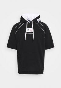 Champion - HOODED SHORT SLEEVES - Sweatshirt - black/white - 5