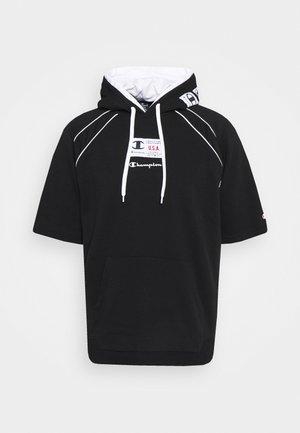 HOODED SHORT SLEEVES - Sweatshirt - black/white