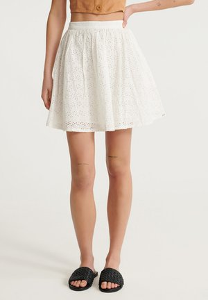 BLAIR BRODERIE - A-line skirt - chalk white