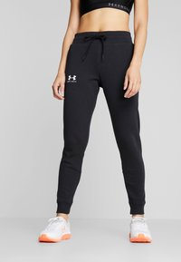 Under Armour - RIVAL FLEECE FASHION JOGGER - Verryttelyhousut - black/black/onyx white - 0