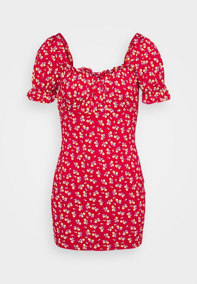 Missguided Petite - DITSY FRILL DRESS - Žerzejové šaty - red