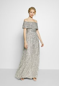 Maya Deluxe - SCATTERED SEQUIN BARDOT MAXI DRESS - Suknia balowa - soft grey - 1