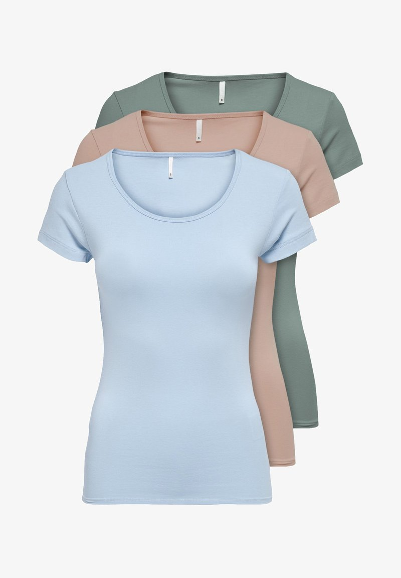 ONLY - PACK OF 3 - Basic T-shirt - rose/green/blue