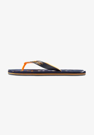 FADED LOGO - T-bar sandals - dark navy/fluro orange/charcoal