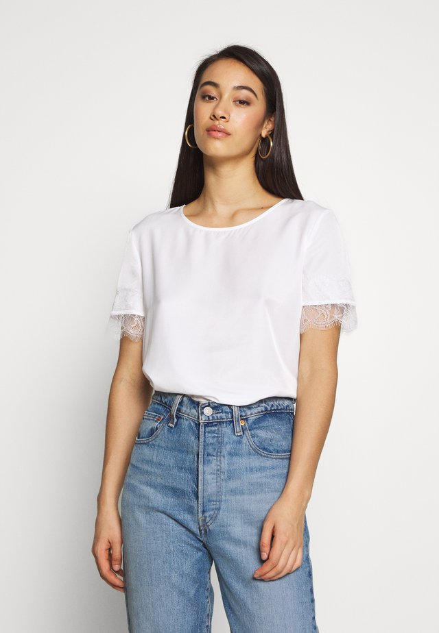 OBJEILEEN S/S  LACE TOP NOOS - Camicetta - cloud dancer