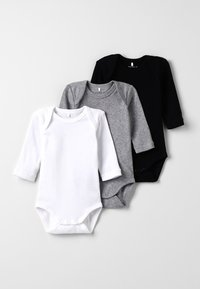 Name it - BABY BASIC 3 PACK - Body - black/white/lightgreymelange - 0