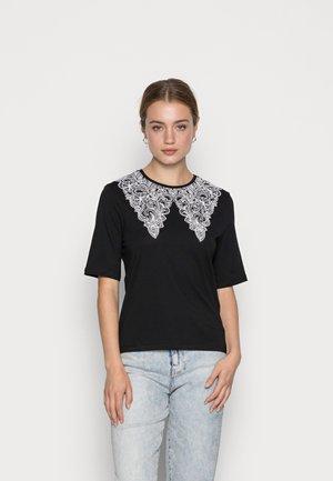 ONLCOLLIE LIFE COLLAR - Print T-shirt - black/bright white