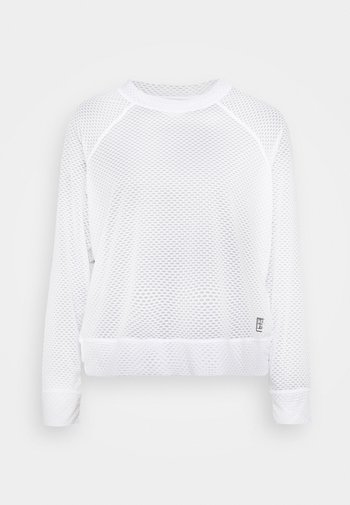 HONEYCOMB CREW NECKLONG SLEEVE PULL OVER - Long sleeved top - white