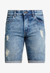 Redefined Rebel - OSLO DESTROY - Denim shorts - frozen blue - 4