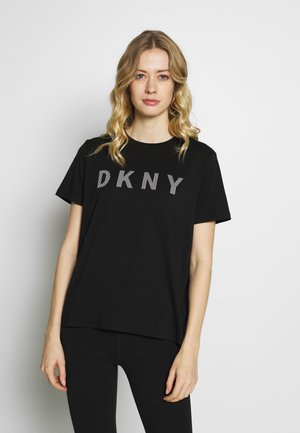 SHORT SLEEVE TEE STRIPED LOGO - Print T-shirt - black