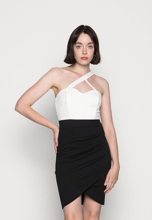 FANTASIA FRONT BODYCON DRESS - Žerzejové šaty - black/white