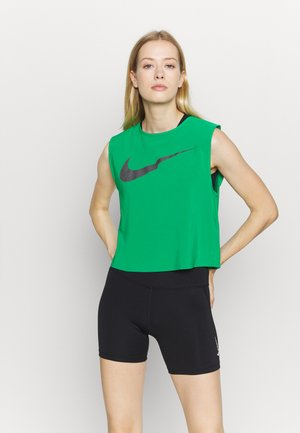 RUN TANK PLEATED - Sports shirt - lucky green/black
