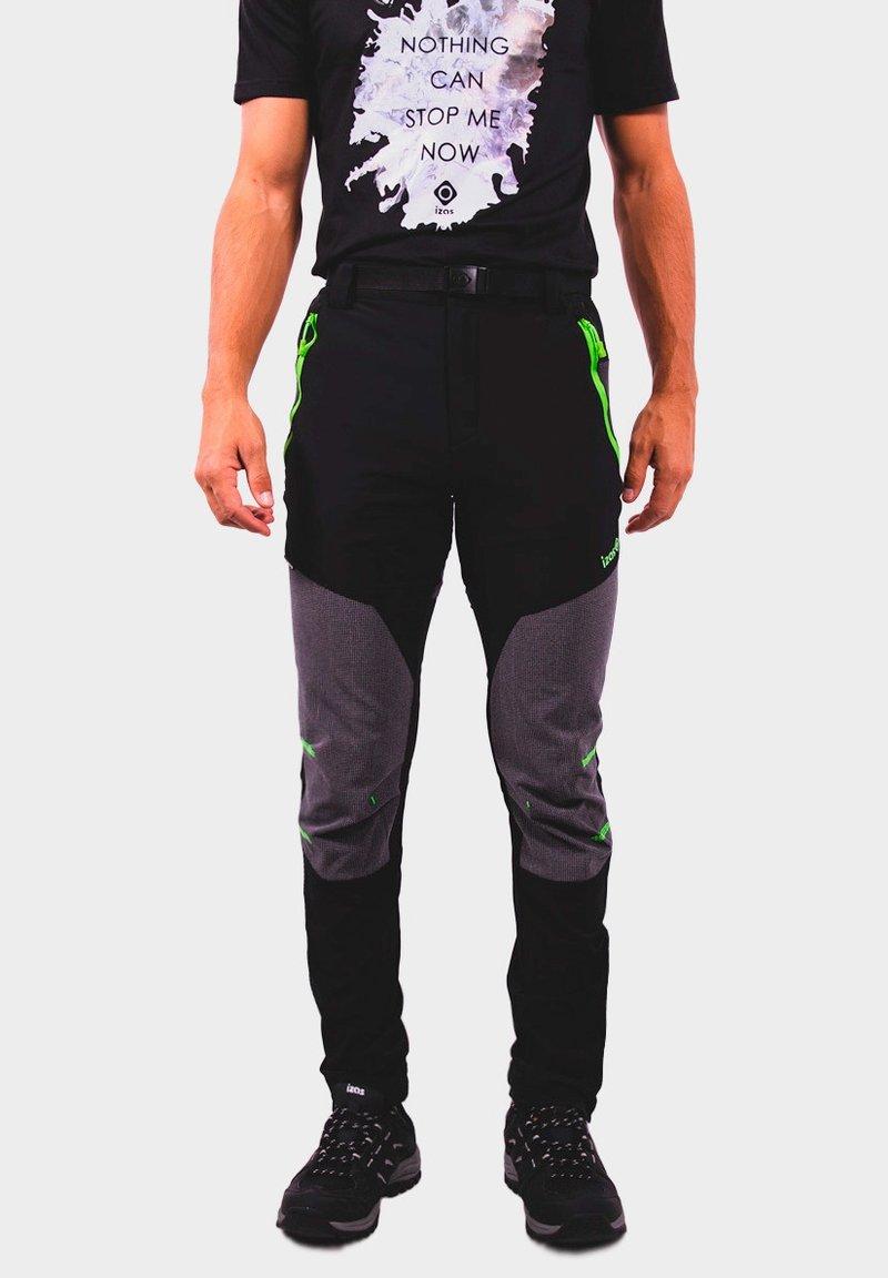 IZAS - Outdoor trousers - black/dark grey/lime