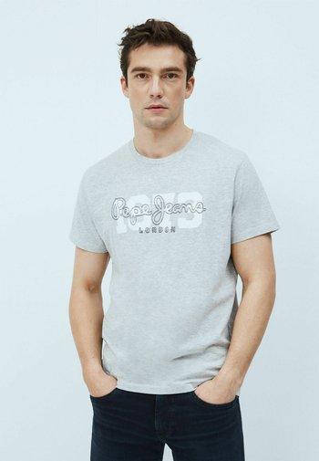ANDRES - T-shirt med print - gris marl