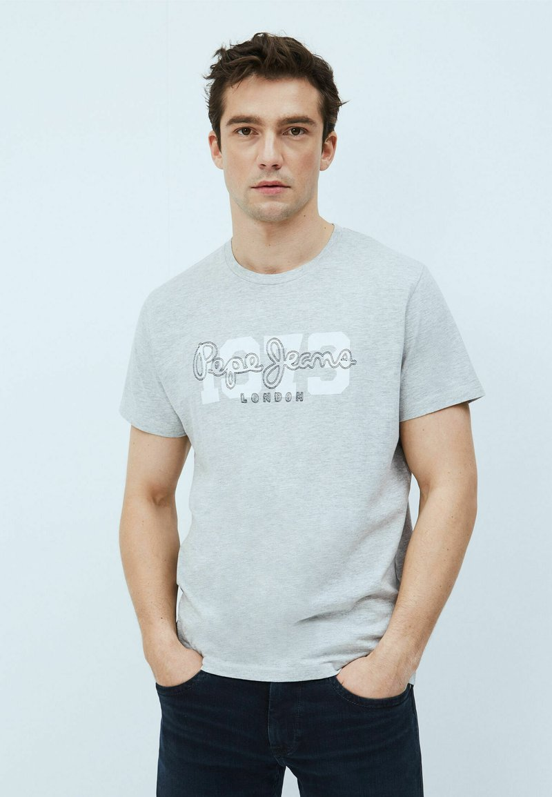 Pepe Jeans - ANDRES - T-shirt med print - gris marl