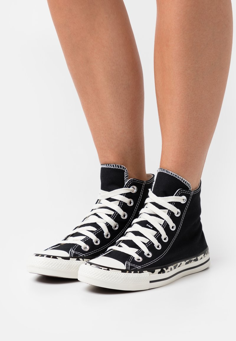 Converse - CHUCK TAYLOR ALL STAR EDGED ARCHIVE LEOPARD PRINT - Sneakers hoog - black/egret/driftwood