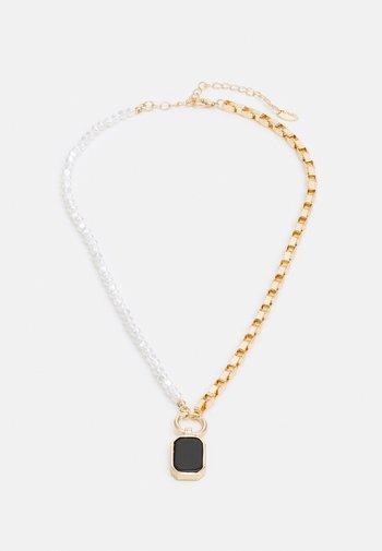 HALF N HALF PEARL & BOX CHAIN NECKLACE - Necklace - gold-coloured