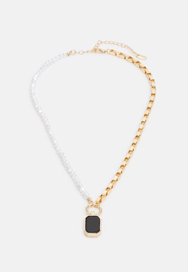 HALF N HALF PEARL & BOX CHAIN NECKLACE - Smykke - gold-coloured