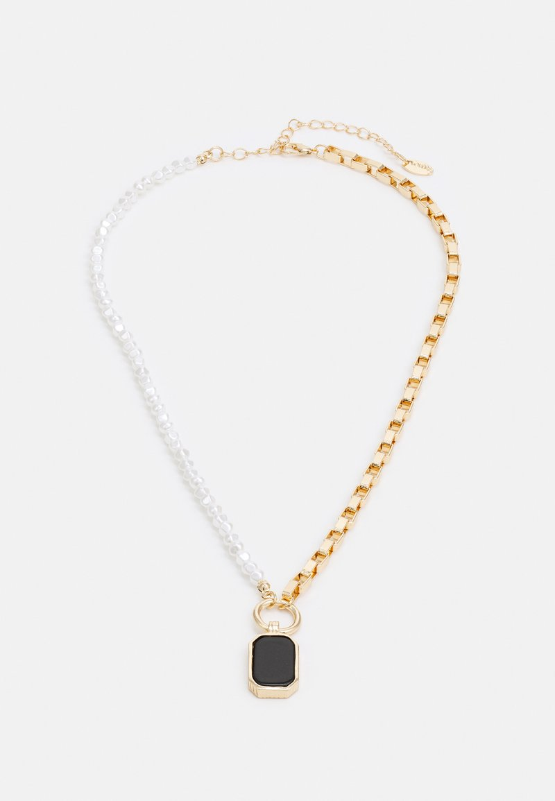 LIARS & LOVERS - HALF N HALF PEARL & BOX CHAIN NECKLACE - Necklace - gold-coloured