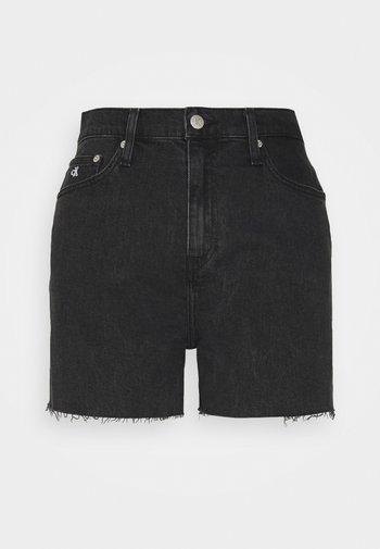 MOM SHORT - Shorts di jeans - denim black