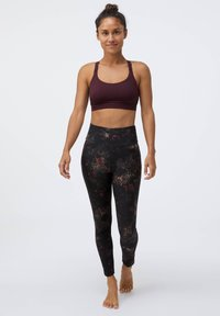 OYSHO - COMPRESSION  WITH WINTER FLORAL PRINT  - Leggings - black - 1