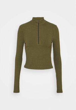 ZIP DETAIL - Long sleeved top - khaki