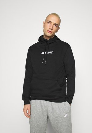 MANHATTAN - Kapuzenpullover - jet black/optic white