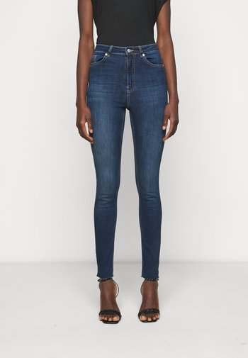 HIGH WAIST RAW  - Jeans Skinny Fit - dark blue
