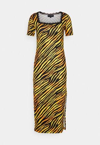 TIGER SQUARE NECKLINE BODYCON DRESS