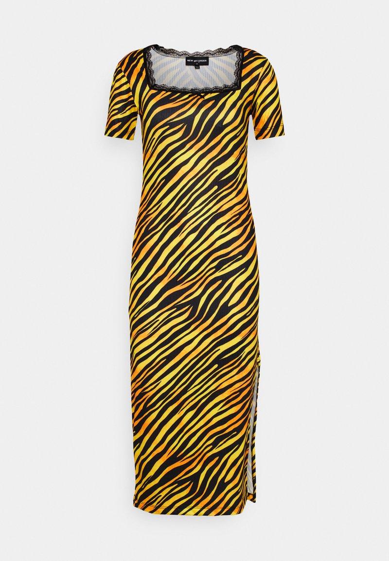 NEW girl ORDER - TIGER SQUARE NECKLINE BODYCON DRESS - Jersey dress - orange