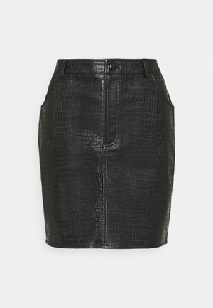 CROC MINI SKIRT - Mini skirt - black